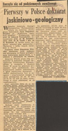 """Artykuł z gazety: """"Pierwszy w Polsce doktorat jaskiniowo-geologiczny""""Ze zbiorów PAN Muzeum Ziemi w Warszawie"""